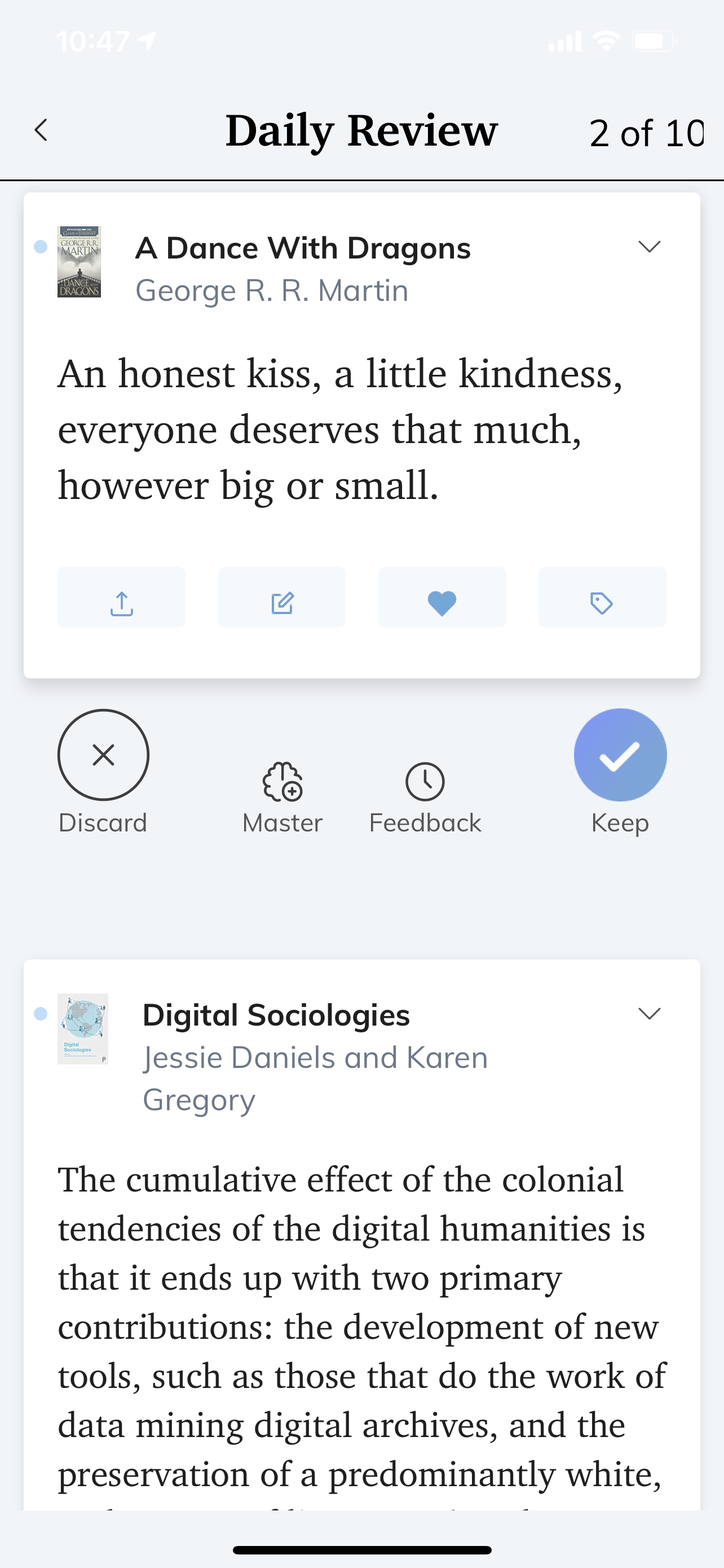 "ReadWise showing quotes from ""A Dance With Dragons"" and ""Digital Sociologies"""